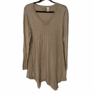 LOGO Lori Goldstein Sz Medium Beige Tunic Top